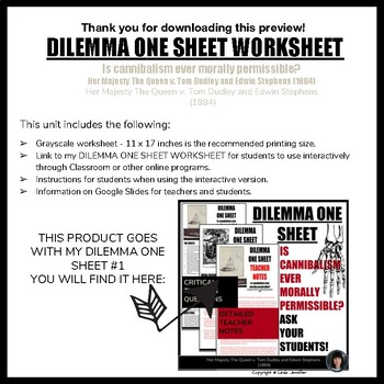 DILEMMA ONE SHEET #1 WORKSHEET (INTERACTIVE OR PRINT) CRITICAL THINKING ACTIVITY