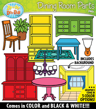 DINING ROOM Parts of a House Clipart {Zip-A-Dee-Doo-Dah Designs}