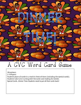 DINNER TIME! A CVC Word Card Game!