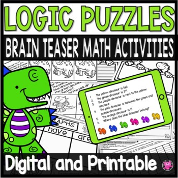 Math Logic Puzzles with Dinosaur Theme for Intermediate Grade