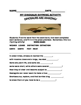 DINOSAUR RHYMING ACTIVITY GRADES K-4