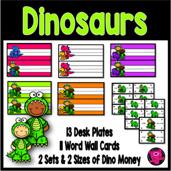 Dinosaur Thematic Desk Plates and Word Wall Cards