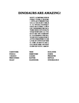 DINOSAURS ARE AMAZING WORD SEARCH