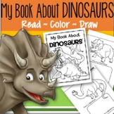 DINOSAURS Activity Printables for Preschool - Read, Color and Draw - Make a Book