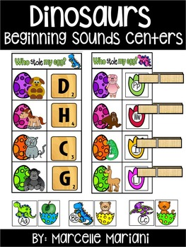 DINOSAURS-BEGINNING SOUNDS CENTER ACTIVITIES- WHO STOLE MY EGG?