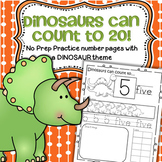 DINOSAURS Number Practice Printables - Recognition, Tracing, Counting 1-20
