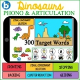 DINOSAURS Phono & Artic Deck: BOOM Cards SPEECH TELETHERAPY