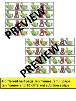 DINOSAURS-Ten Frame Addition- Work it out and Record- Dino Math Center