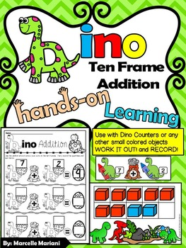 DINOSAURS-Ten Frame Addition- Work it out and Record- Dino
