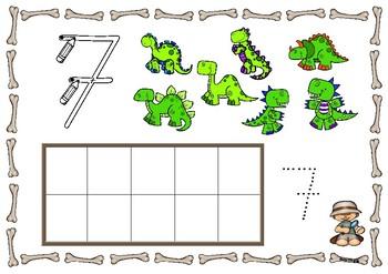 DINOSAURS numbers 1-10 / DINOSAURIOS Números 1-10