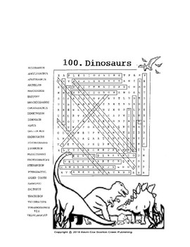 DINOSAURS WORD SEARCH or wordsearch