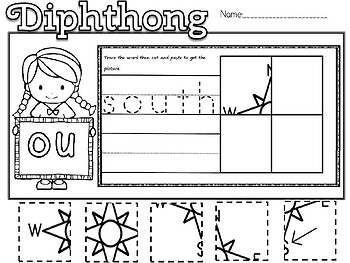 DIPHTHONG write and picture sort(flash freebie)