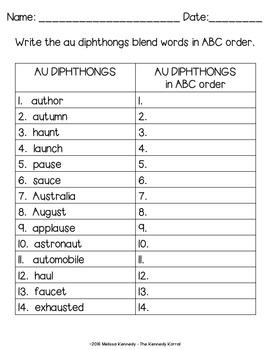 Word Work: Diphthongs - AU - AW