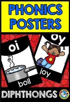 DIPHTHONGS POSTERS (BLACK AND BRIGHTS CLASSROOM DECOR)
