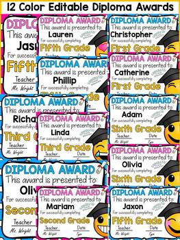 DIPLOMA/GRADUATION EDITABLE AWARDS: EMOJI-THEMED: END OF YEAR