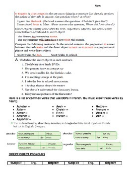 Lesson & Activity Packet: French Direct & Indirect Object Pronouns (DOP & IOP)