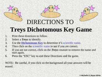 DIRECTIONS Trey's Dichotomous Key Game