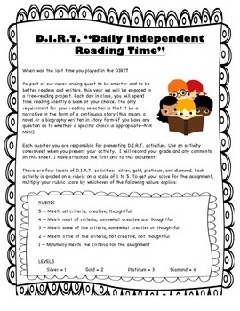 Independent Reading Choice Board Project - Distance Learning