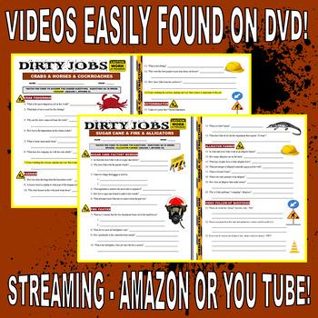 DIRTY JOBS BUNDLE SET 1 (15 Career Video Worksheets)