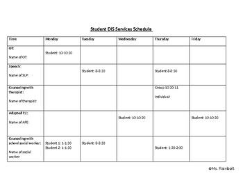 DIS Services Schedule