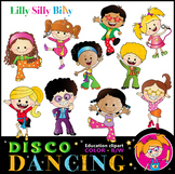 DISCO KIDS Dancing Clipart. BLACK AND WHITE & Color Bundle. {Lilly Silly Billy}