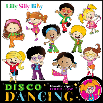 Disco Kids Dancing Clipart Black And White Color Bundle Lilly Silly Billy