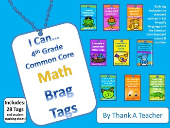 DISCOUNTED Bundle of all 4th Grade Common Core Brag Tags