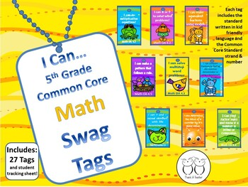 DISCOUNTED Bundle of all 5th Grade Common Core Brag Tags