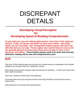 DISCREPANT DETAILS FOR SPEED READING DEVELOPMENT