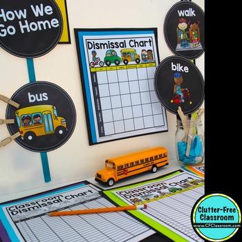 DISMISSAL CHART / HOW WE GET HOME CHART {aqua chevron} - EDITABLE