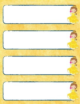 DISNEY THEMED: Beauty and the Beast Name tags and labels by Learner's Hub