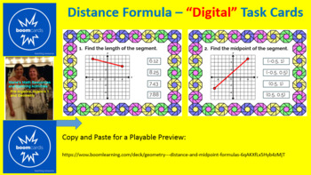 "DISTANCE FORMULA AND MIDPOINT FORMULA: ""DIGITAL"" BOOM CARDS (24 TASK CARDS)"