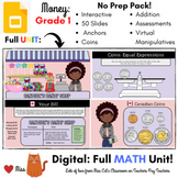 DISTANCE LEARNING: Canadian Coins Money - Grade 1 MATH - DIGITAL - Interactive -