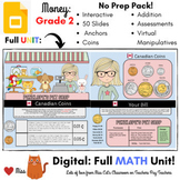 DISTANCE LEARNING: Canadian Coins Money - Grade 2 MATH - DIGITAL - Interactive -