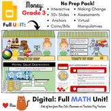 DISTANCE LEARNING: Canadian Coins Money - Grade 3 MATH - DIGITAL - Interactive -
