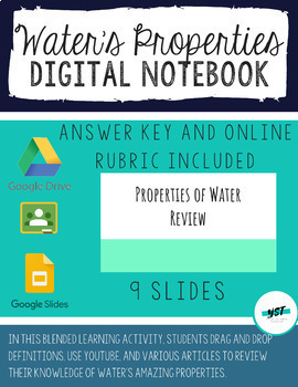 DISTANCE LEARNING FREE! Properties of Water Interactive Digital Notebook