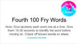 DISTANCE LEARNING - Fourth 100 Fry Word Assessment