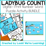DISTANCE LEARNING: Ladybug Number Word Puzzles - Print + D