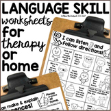DISTANCE LEARNING Language Skill Worksheets for Therapy or