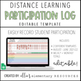 DISTANCE LEARNING - Participation Log - Editable
