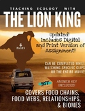 DISTANCE LEARNING The Lion King - Food Chains & Webs, Rela