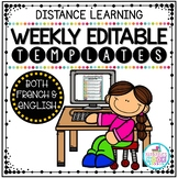 DISTANCE LEARNING - Weekly Editable Templates