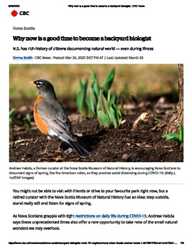 DISTANCE LEARNING - Why now is a good time to become a backyard biologist!