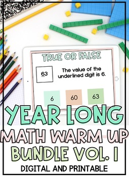 DISTANCE LEARNING: YEARLONG (GROWING) Bundle of Math Warm Ups DIGITAL
