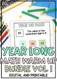 DISTANCE LEARNING: YEARLONG Bundle of Math Warm Ups VOLUME