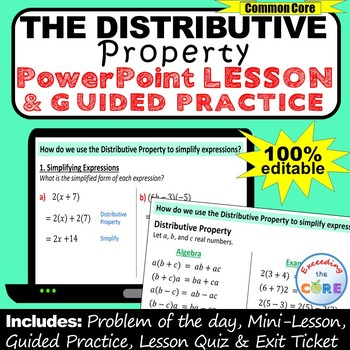 DISTRIBUTIVE PROPERTY (Simplify Expressions) PowerPoint Mini-Lesson & Practice