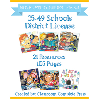DISTRICT LICENSE 25-49 – Year Long Program – NOVEL STUDY GUIDES – Grades 3-4