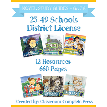 DISTRICT LICENSE 25-49 – Year Long Program – NOVEL STUDY GUIDES – Grades 7-8
