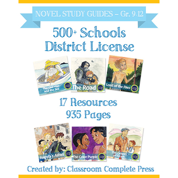 DISTRICT LICENSE 500+ Year Long Program – NOVEL STUDY GUIDES – Grades 9-12