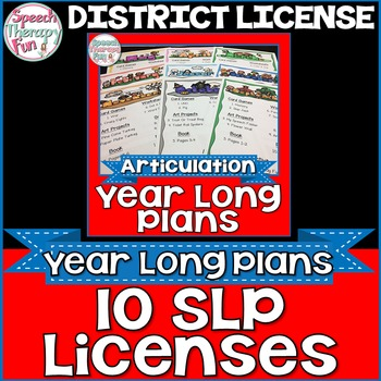 DISTRICT LICENSE FOR 10 SLPs: Articulation Plans & Materia